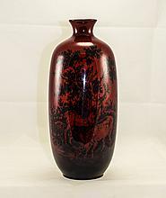 Royal Doulton Flambe Bottle Shaped Vase ' Woodcut