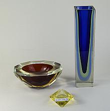 3 Pieces Of Murano Sommerso Style Glass, Comprising A Tall Blue Green Vase,