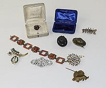 Small Mixed Lot Of Costume Jewellery Comprising Brooches, Some Set With Dia