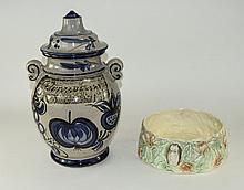 Large West German Two Handled Lidded Preserve Jar.