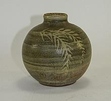 Monogrammed Green Leaf Studio Pottery Stoneware Va