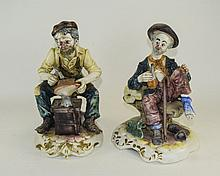 Two Modern Decorative Capodimonte Figures. Cobbler, 12 Inches In Height, an