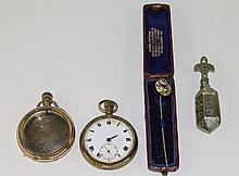 Small Mixed Lot Comprising An Open Faced Pocket Watch, Pocket Watch Case, E