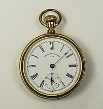 Waltham Open Faced Pocket Watch, White Porcelain Dial With Roman Numerals A