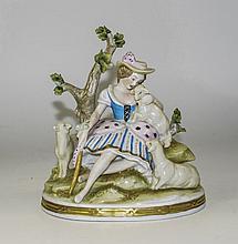 Sitzendorf Hand Painted Group Figure ' Shepherdess