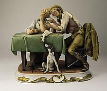 Capodimonte - Fine Signed and Early Humorous Group Figure ' Hunting Tales '