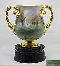 Royal Worcester Unique Fishing Trophy, being a two
