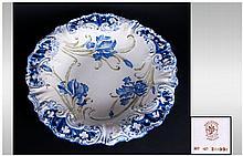 Macintyre Dubarry Dessert Plate / Dish with Raised Slip Iris Design. c.1902