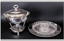 Silver Plated Hors D'oeuvres Dish & Plated Warming Dish With Stand.