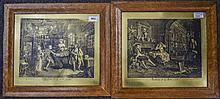 2 Maple Framed Engravings, Marriage A La Mode Plate II & Plate III, Hogarth