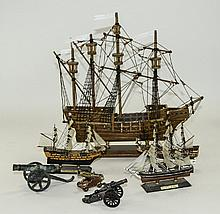 Collection Of Four Wooden Ships Comprising 3 Small, The Cutty Sark, HMS Vic