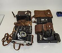 Collection Of 5 Folding Cameras Comprising Kodak Junior II In Leather Case