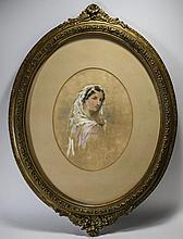 Victorian Watercolour Titled ' The Bride ' By Ada