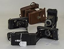Collection Of 6 Folding Cameras Comprising Kodak Six-20 Brownie In Leather