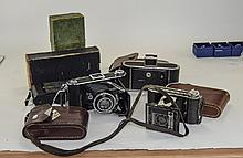 Collection Of 5 Folding Cameras Comprising Ensign Selfix 420 In Card Box, K