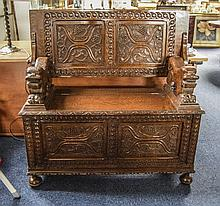 19thC Oak Carved Monks Bench Profusely Carved Thro