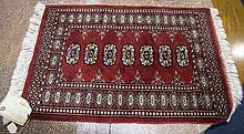 Prayer Rug From Pakistan, Made Of Bomull In Red Geometric Pattern, 96x56cm