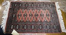 Prayer Rug From Pakistan, Made Of Bomull In Salmon Red Geometric Pattern, 6