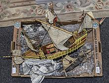 Model Galleon Ship Together With 2 Others AF