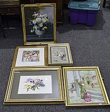 Collection Of 5 Framed Pictures, 2 Oil On Boards,
