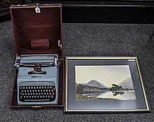 Olivetti Studio 44 Typewriter Together With A Framed Print