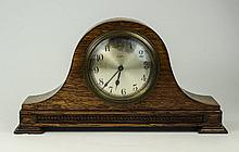 Oak Cased Mantel Clock, Silvered Dial, Arabic Numerals, Spring Driven