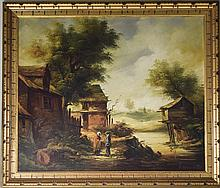 Modern Continental Oil On Canvas Depicting Figures