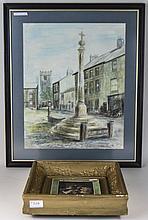 Framed Watercolour, Street Scene Signed DM Wood 82