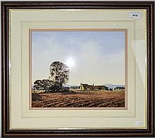 Framed Watercolour, Farm Buildings And Fields, Loo