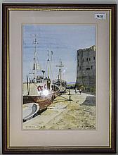 C Heighton Framed Watercolour KYRENIA Cyprus, Harb
