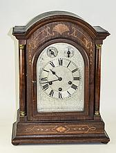 Philipp Haas & Sohne Mahogany Inlaid Mantel Clock, Domed Top With Turned Su