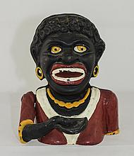 Antique - Hand Painted Heavy Mechanical Cast Iron Money Box, In The Form of