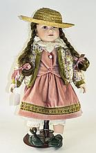 Limited Edition Zasan Bisque Headed Doll On Stand Plaited Brown Hair, Velou