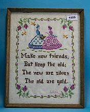 Framed Sampler Depicting 2 Figures And Text 'Make New Friends But Keep The