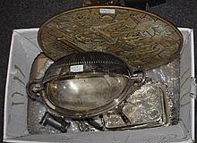 Mixed Box Comprising Silver Plated Cheese Dish And Stand, Shaped Embossed B