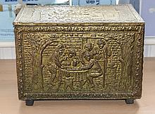 Small Brass Chest. Raised Decoration and Wood Inte