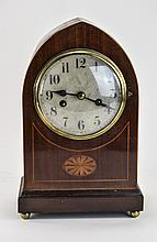 A Mahogany Cased Napoleon Hat Shaped Mantel Clock. c.1930's. With 8 Day and