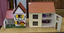 Two Early To Mid 20th Century Wooden Dolls Houses. The Largest 19 Inches Hi