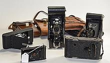 Collection Of 6 Folding Cameras Comprising Kershaw Eight 20 Penguin In Leat