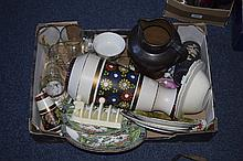 Box Of Miscellaneous Ceramics And Glass. Comprising Glasses, Jug, Vase, Cab