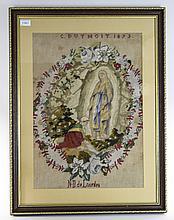 Framed Religious Sampler Named And Dated C Duthoit 1873 Lourdes Depicting M