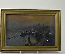 George Hyde Pownall (1876-1932) Oil On Panel, Uppe