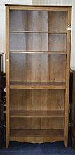 Pine Effect Book Case, Five Shelves With Three Adj