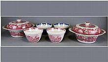 Enoch Woods 6 Pieces, 4 pudding basins & 2 covered veg dishes. Circa 1950's