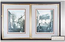 Leny Rushton Pair of Pencil Signed Prints, Depicting Street Scenes with Chi