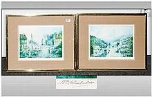 William Chamberlain Pair of Pencil Signed Prints of Village Scenes. Framed