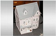 Modern Two Storey Painted Dolls House with untested electrical connection.