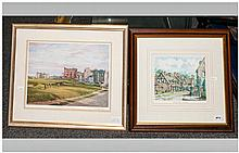 Golfing Interest Framed Coloured Print, mounted and behind glass. 'The Roun