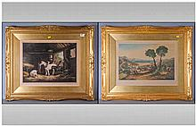 Pair of Proof Signed Coloured Prints, one after G.Morland depicting a barn