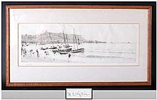 William Lionel Wyllie 1851-1931, Signed Black & White Etching Titled 'Scarb